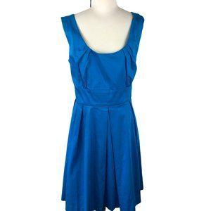 Calvin Klein Blue Scoop Neck Pleated Dress Size 14